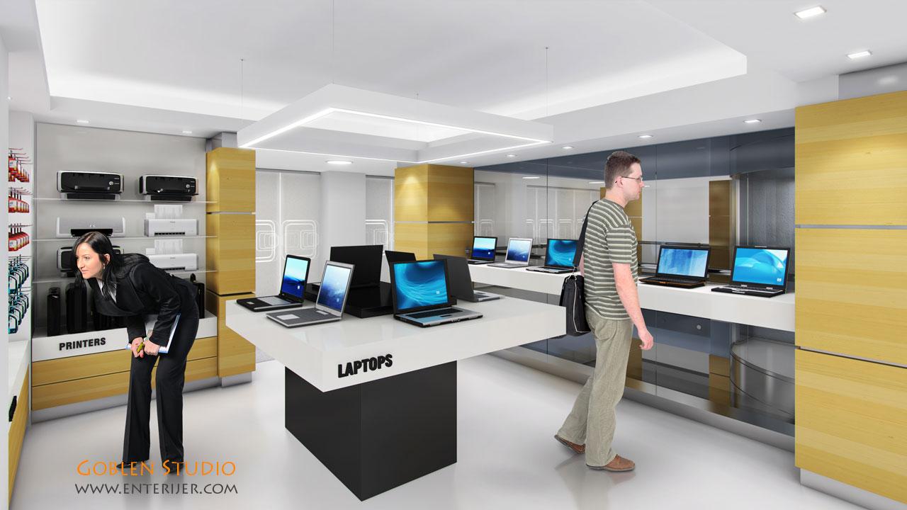 Enterijer prodavnice računarske opreme – HP store